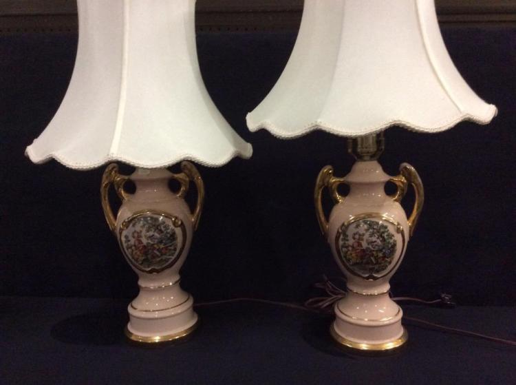 Pair of 2 gilded pink hand painted lamps with english scene