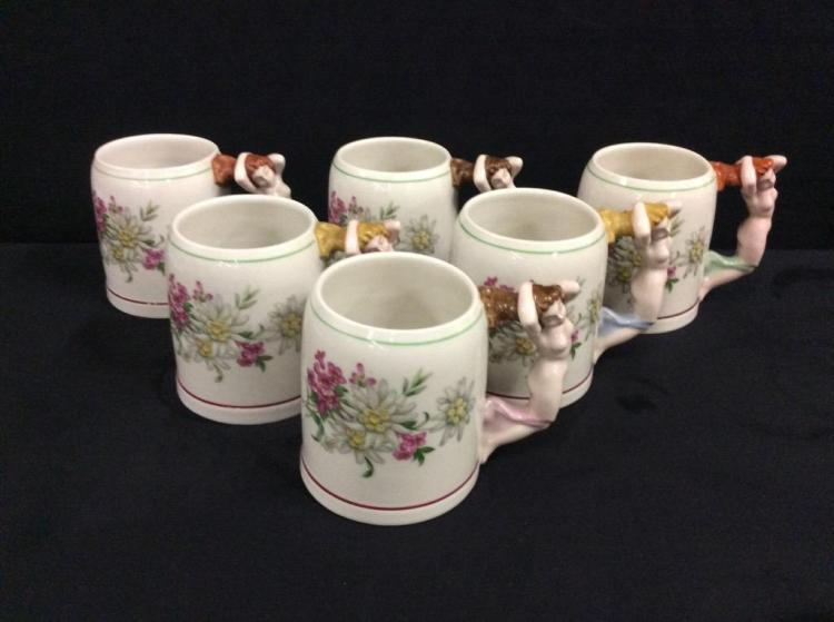 set of 6 unique naked lady handled mugs by tirschenreuth bavaria germany
