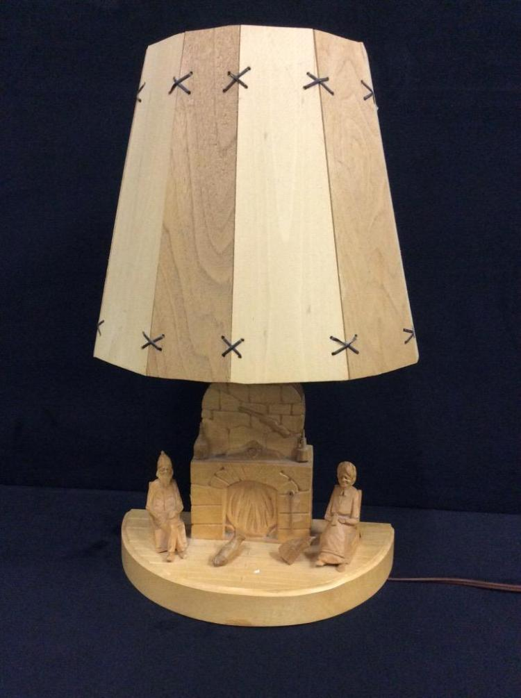 german cut wood lamp w/ fireplace scene