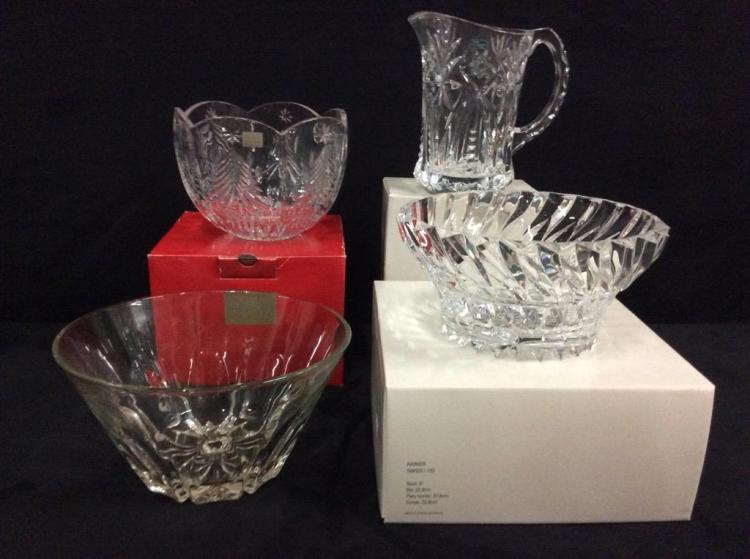 Selection of new and like new in box Crystal pieces incl. mikasa, france ,etc