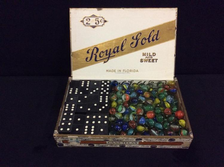 Set of Vintage dominoes and approx 200 vintage marbles