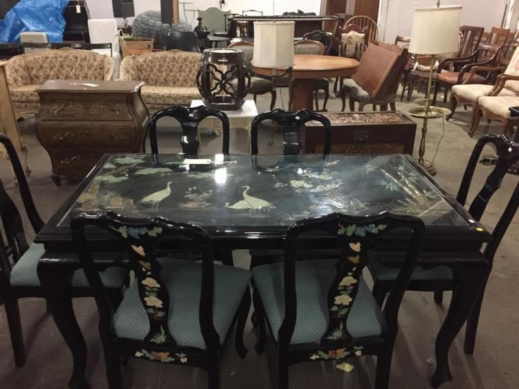 Amazing Asian Lacquered Dining Room Table w/ chairs - shell & stone design - glass top
