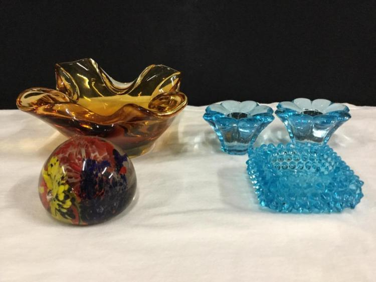 Set of vintage blue glass, art glass, and hobnail incl. nice paperweight