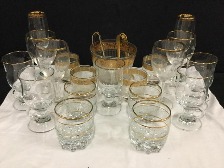 Selection of Mid Century Glassware incl. wine glasses, whiskey glasses & ice bucket