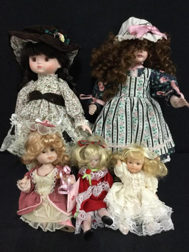 Selection of 5 dolls - various sizes