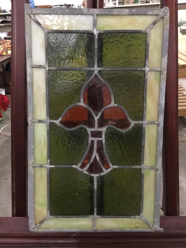 Stained Glass Fleur De Lis leaded window