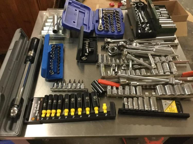 Huge selection of sockets and ratchets w/ a torque wrench and more.
