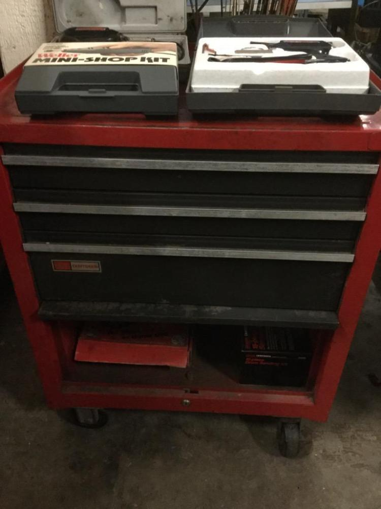 Sears Craftsman rollingTool Chest filled with tools