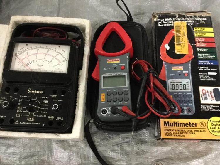 Set of 2 multimeters- one with box one simpson
