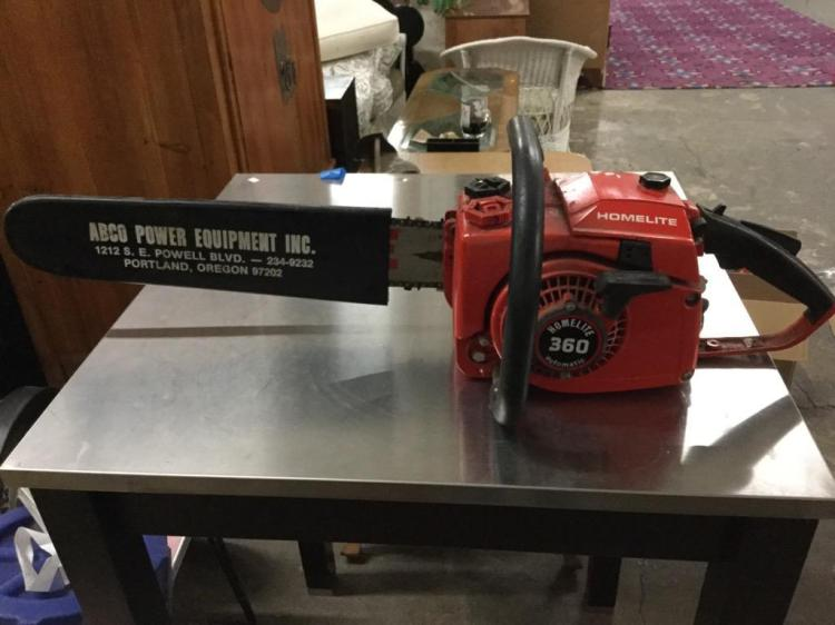 A Homelite 360 automatic chainsaw w/ a 20