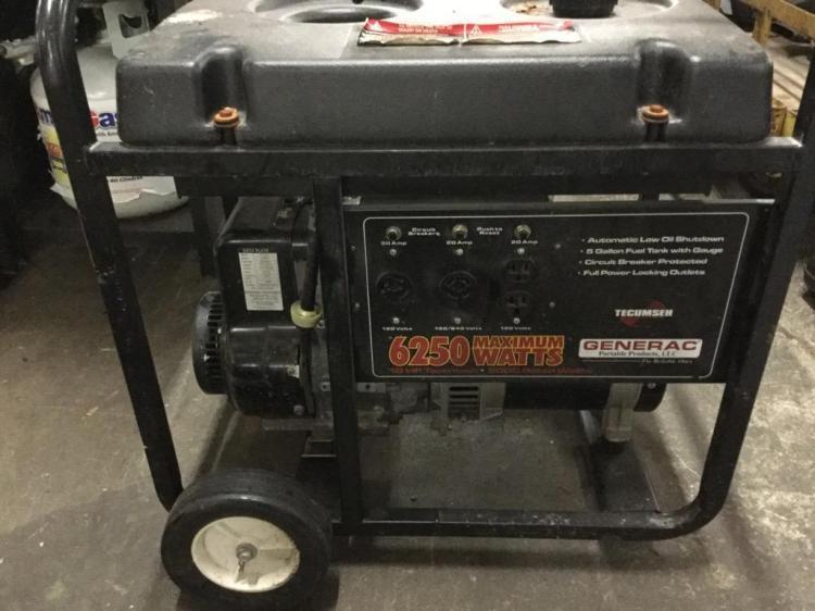 A Generac 6250 watt generator. Untested. As-is