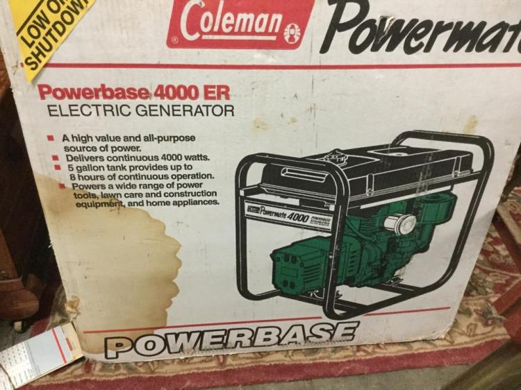 A Coleman power base 4000 ER electric generator. N.I.B.