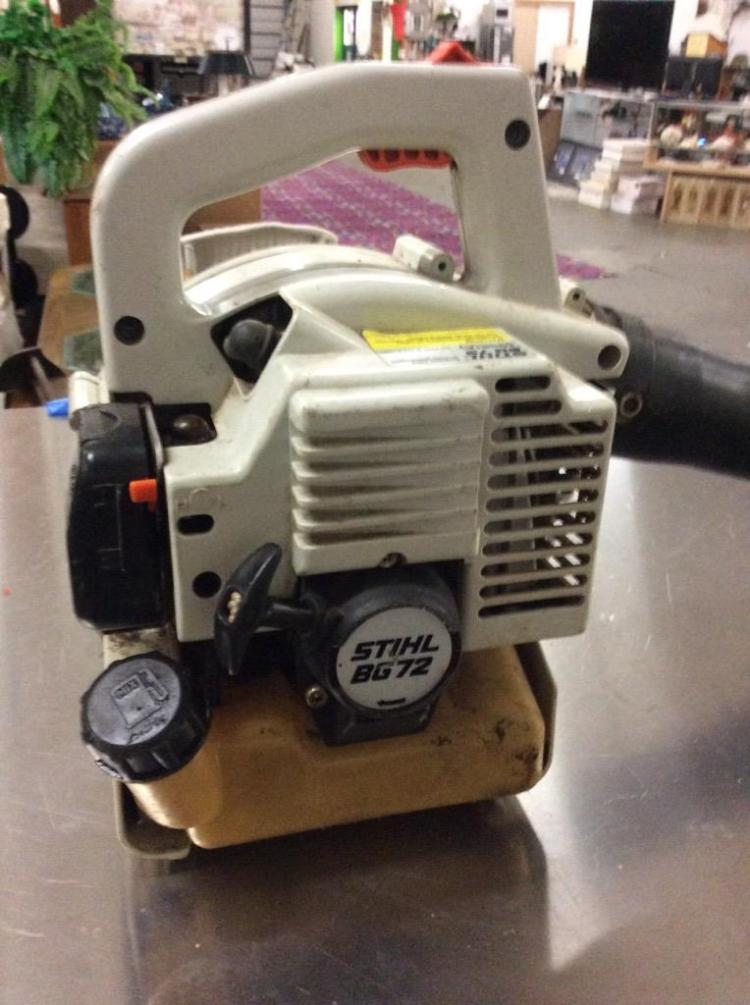 A Stihl BG 72 gas powered leaf blower. Needs work
