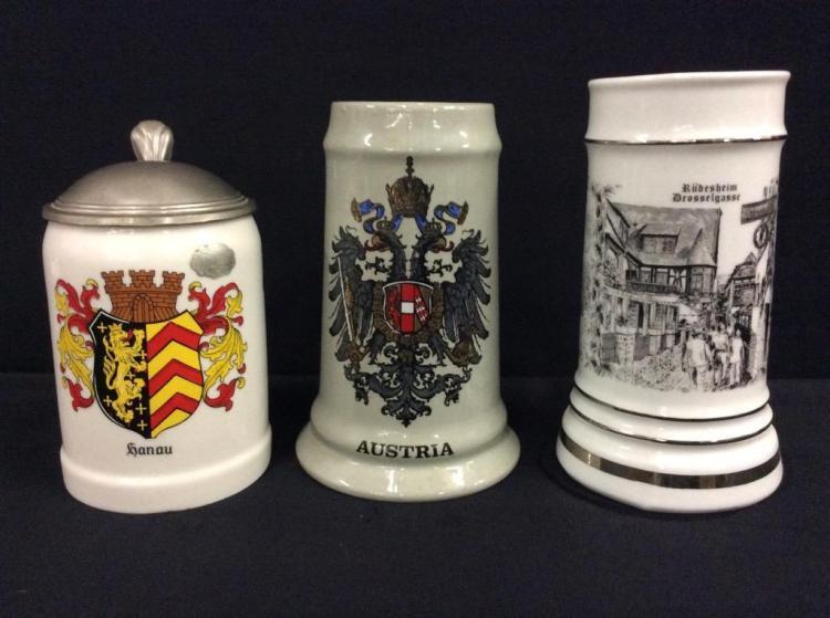 Set of 3 german/Austrian beer stein and mugs