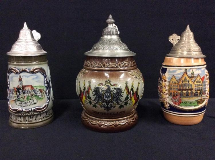 Set of short Western Germany Steins - salt glazed and handpainted - 2x King Steins