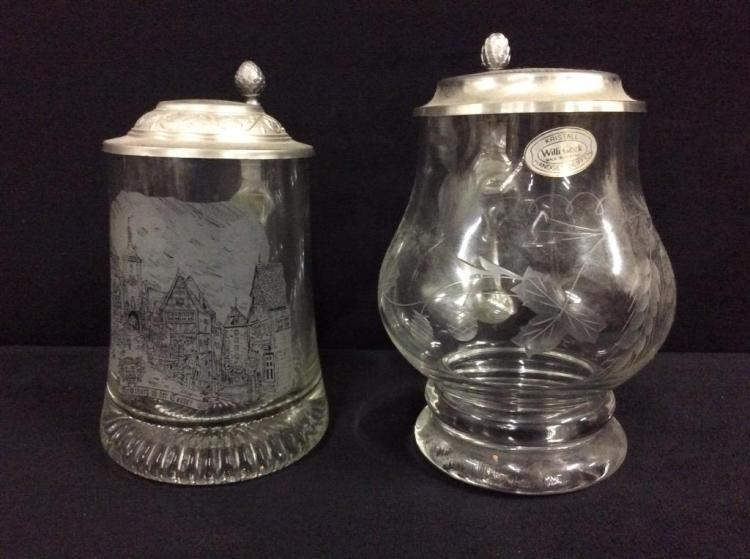 Set of two etched german crystal and glass mugs/steins - 1 marked williGeck
