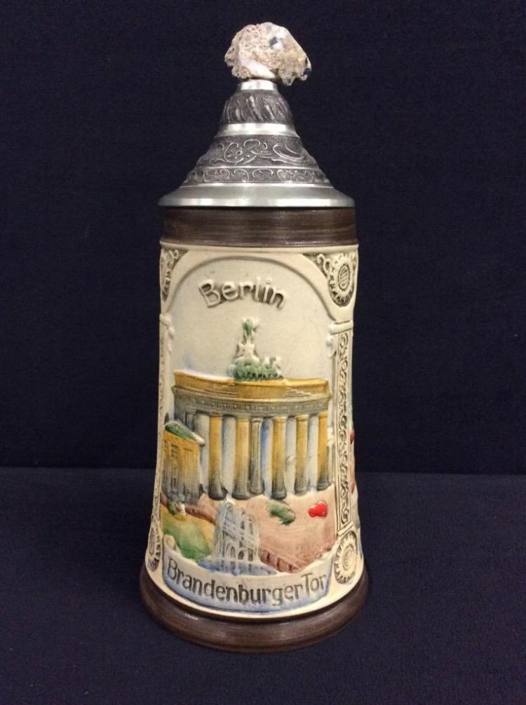 Armin Bay limited edition hand painted German stein with a piece of the berlin wall