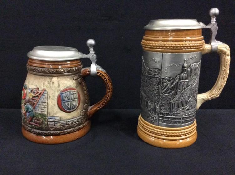Set of two nice german beer steins/mugs - one with pewter detai land the other handpainted