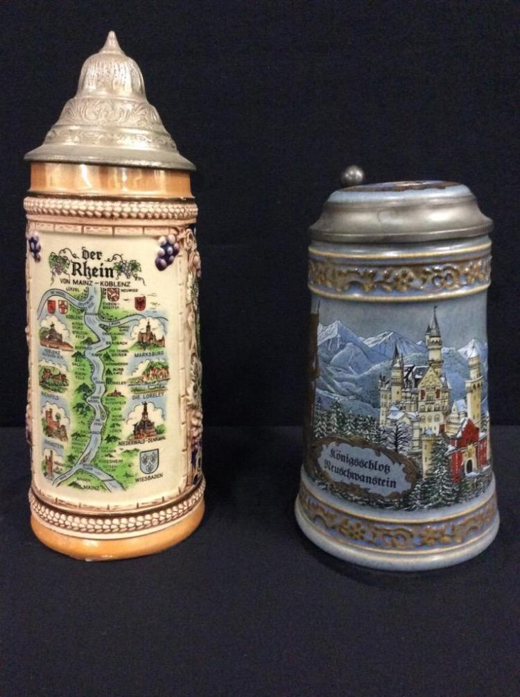 Set of 2 Gerz west germany steins - pewter lids