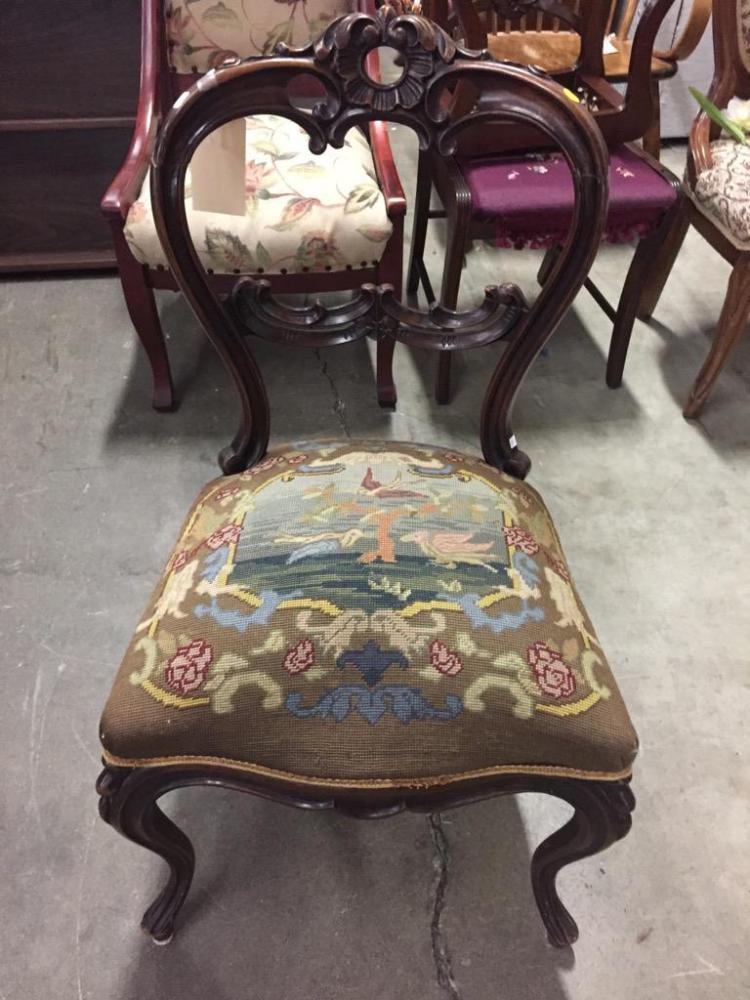 Antique mid 1800's French Chair w/ intricate carving and bird scene needlepoint seat