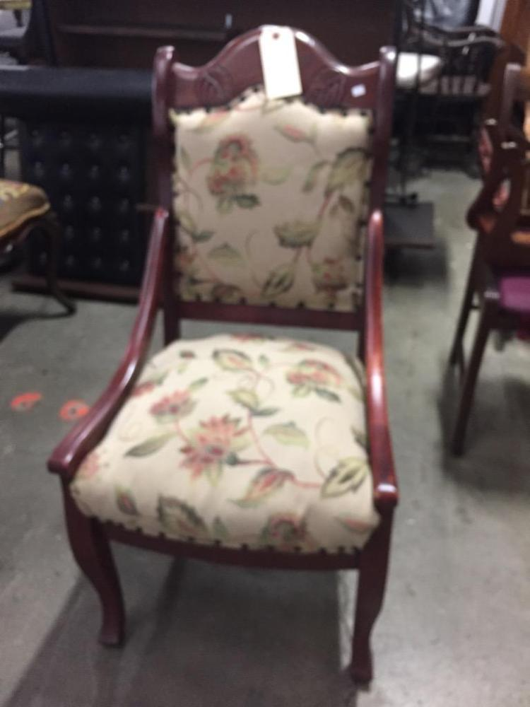 Antique american dining chair - reupholstered