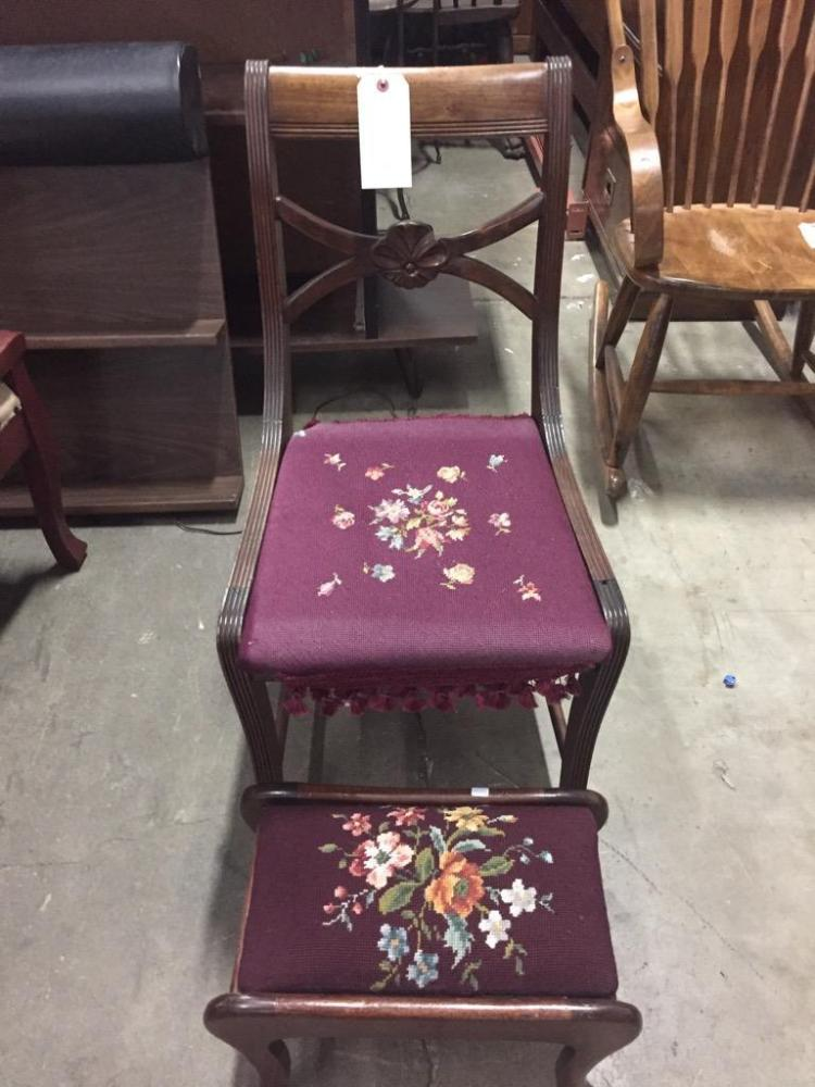 Antique Americana Needlepoint chair and ottoman