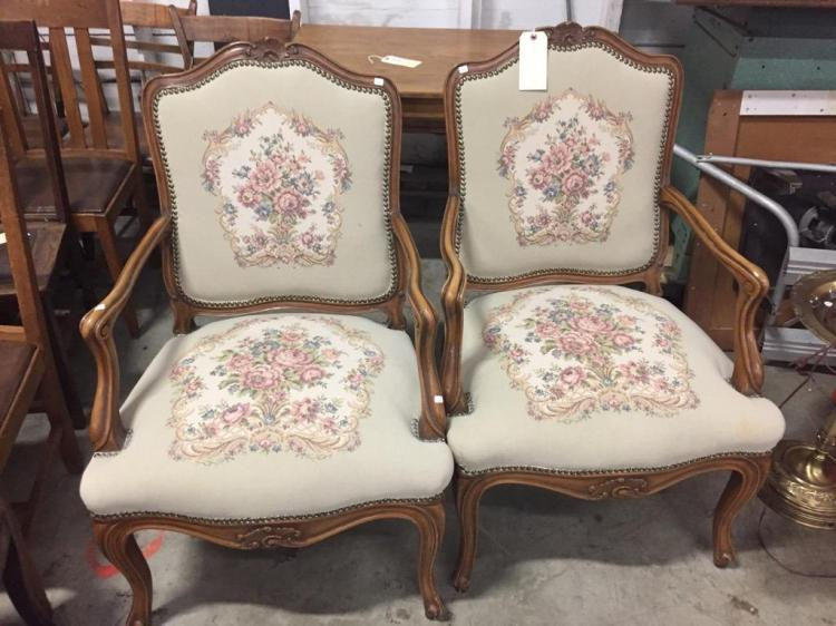 Pair of Antique Victorian parlor chairs - new upholstery