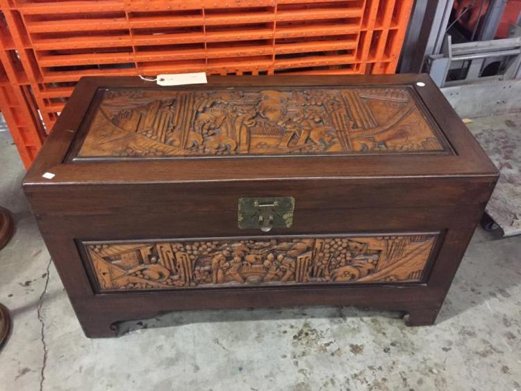 heavily Carved indonesian trunk - good cond
