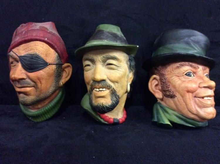 Set of 3 Bosson England Vintage Chalkware Heads