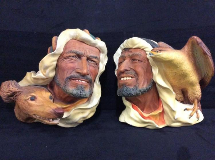 Set of 2 Bosson England Chalkware heads - arabic? men with dog and falcon - larger than usual size