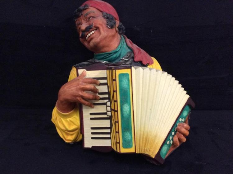 Large Bosson england chalkware man playing accordion bust/head