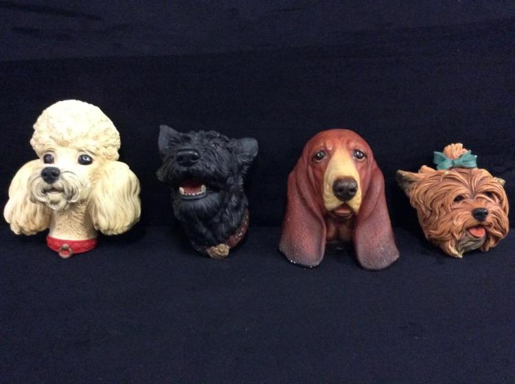 Set of 4 Bosson England Vintage Chalkware Heads - Dogs!