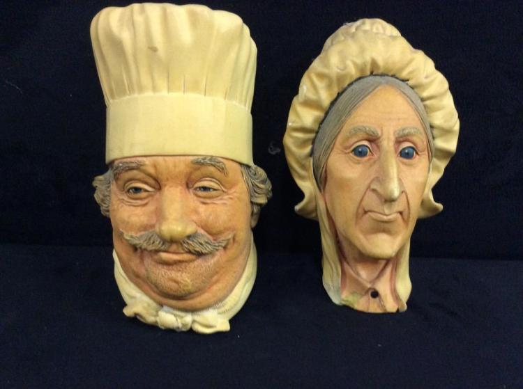 Set of 2 Bosson England Vintage Chalkware Heads - old school chef and matron