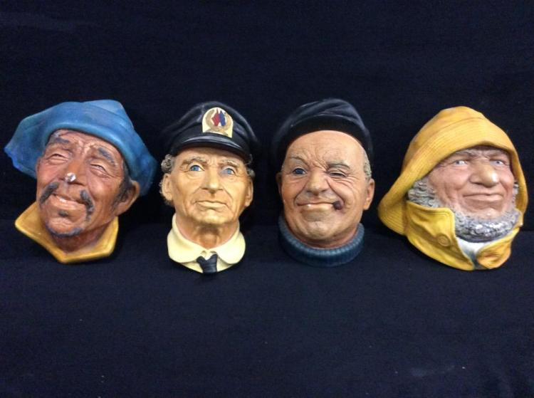 Set of 4 Bosson England Vintage Chalkware Heads