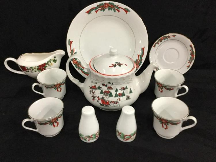 Poinsettias ribbons China set with additional teapot and serving pieces in same pattern/theme