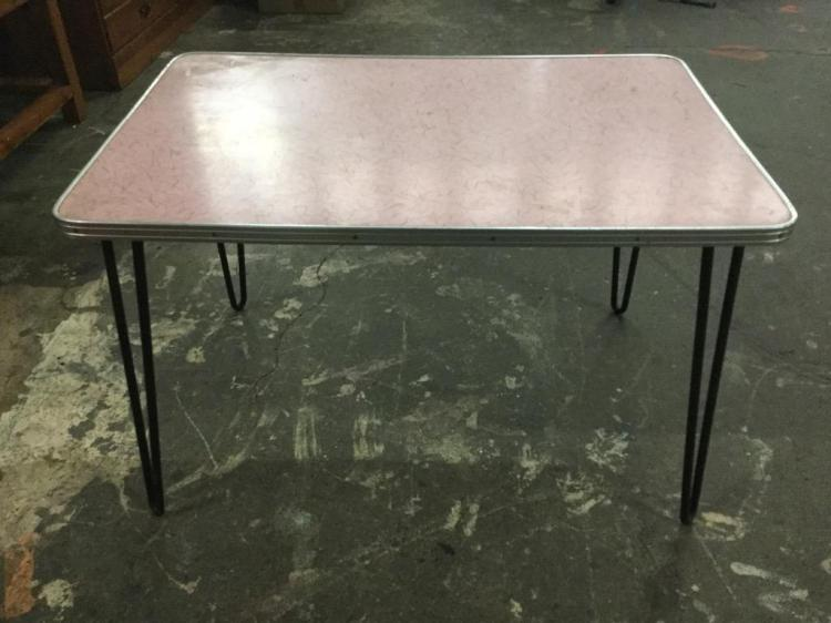 1950's-60's Pink Formica top Childrens? table or coffee table with hairpin legs