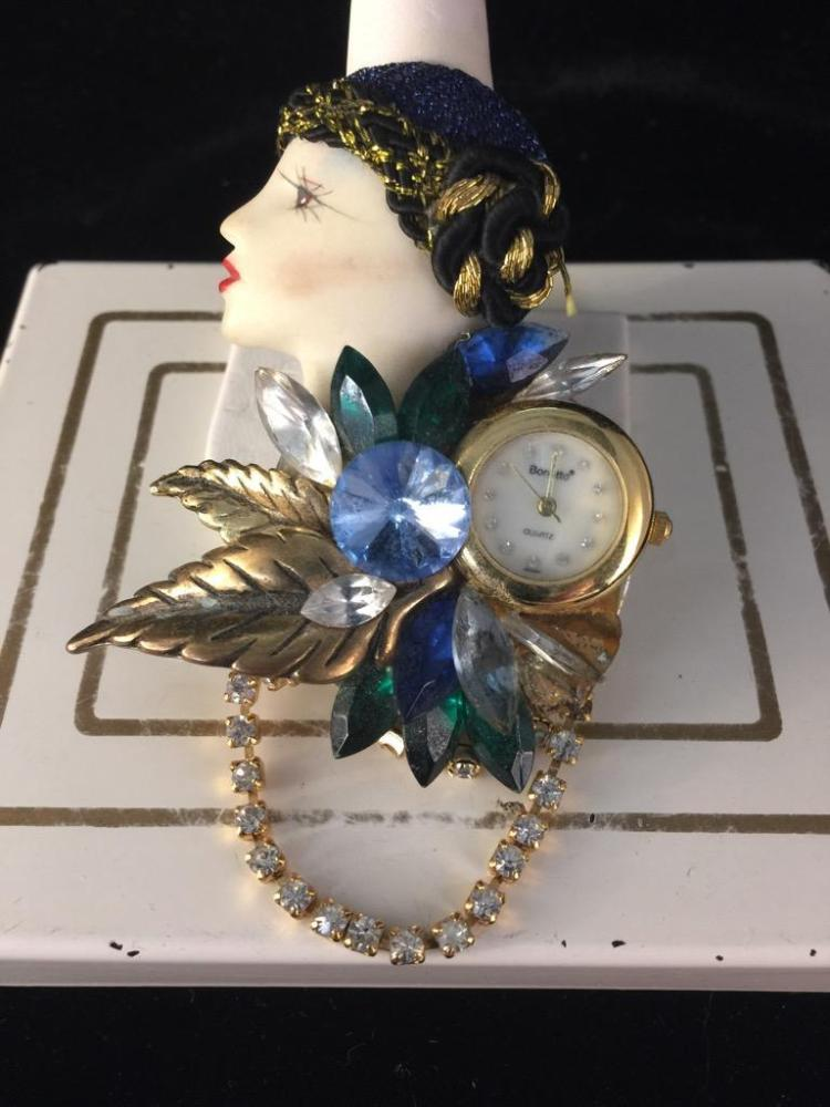 Vintage Deco Watch Brooch w/ rhinestone accents - flapper girl as is
