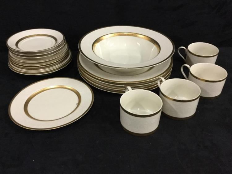 Elegant mikasa white and gold china set - 17 piece total
