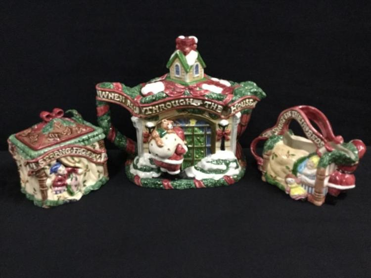 Set of Fitz and Floyd Christmas themed tea set