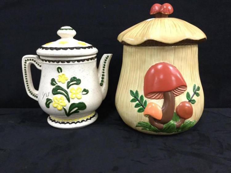 Large vintage mushroom cookie jar with large stoneware teapot
