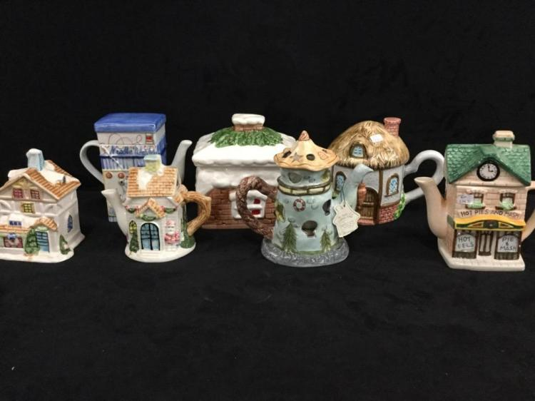 Large set of House themed Teapots - nice set!