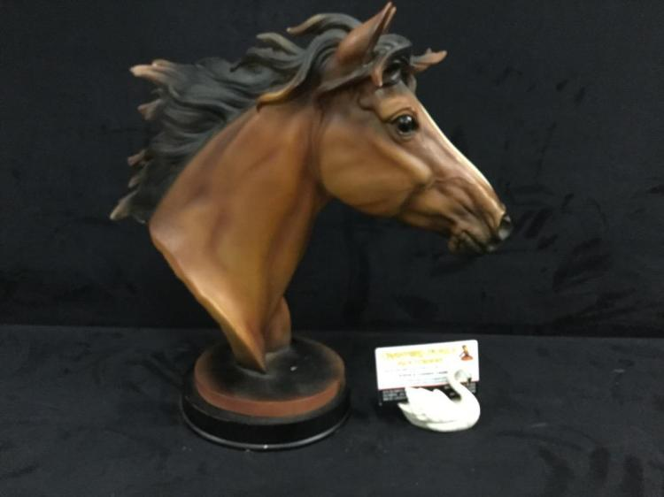 Large resin? Flowing mane horse bust