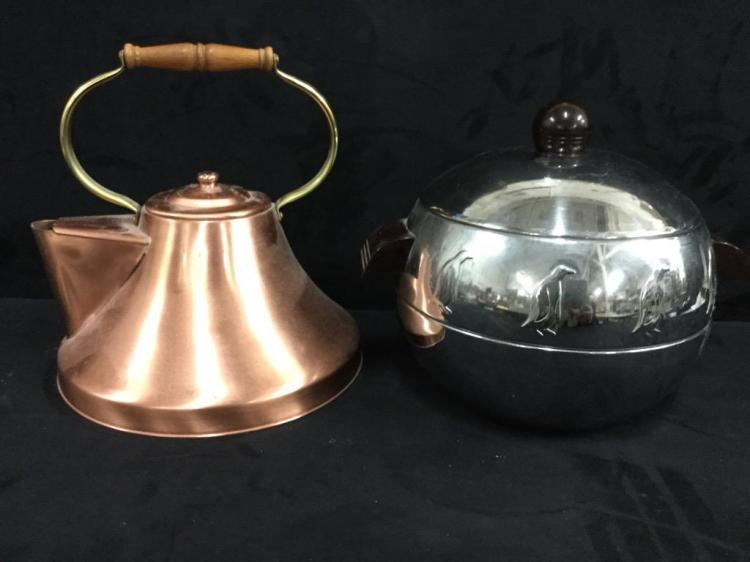 Vintage solid copper teapot and penguin ice bucket