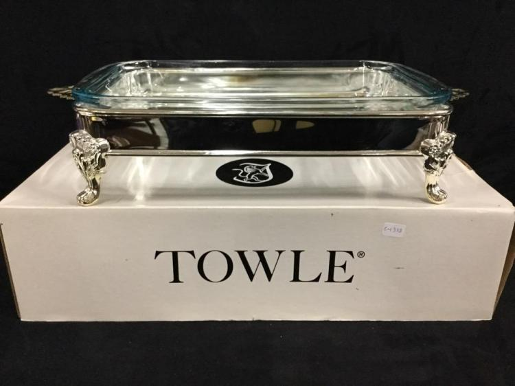 Towle silver plate and glass serving dish - like new in box