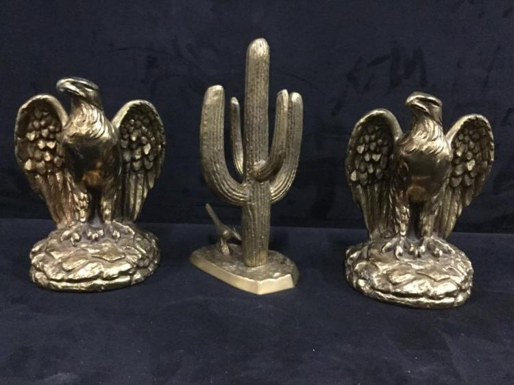 Set of Brass American Eagle Bookends and Brass Cactus