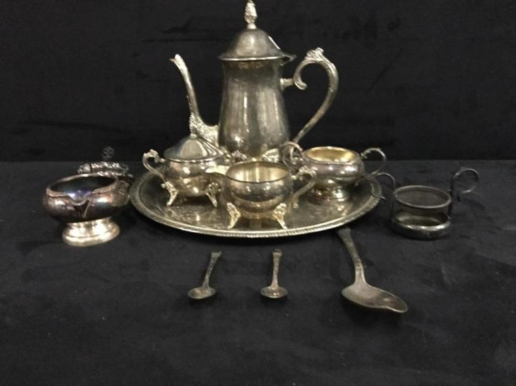 Vintage silverplate tea set with additions silverplate pieces