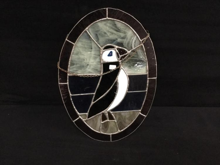 Beautiful stained glass puffin