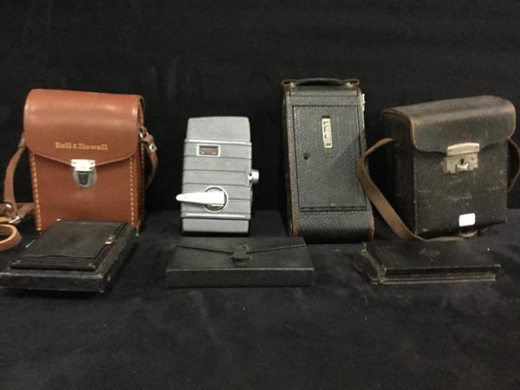 Collection of vintage cameras and film cameras - as is