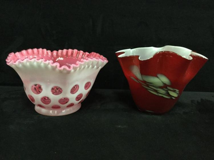 Set of two stunning art glass bowls - milk glass and hand cut art glass bowl