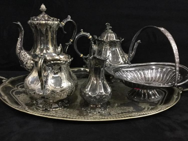 Amazing late 1800's ornate MH & Co silverplate tea service with additional handled bucket